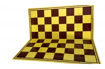 Cardboard chess board, yellow/brown, gloss