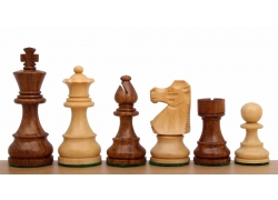 "French Staunton Acacia/Boxwood 3"" chess pieces"