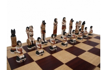 EGYPT (pieces painted stone, wooden chess case, intarsia, insert tray)