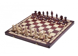 TOURNAMENT No 8 burned folding board,  insert tray, wooden chess pieces