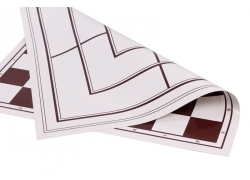 Vinyl roll-up chess board + mill, white/brown (double sd, white/brown)