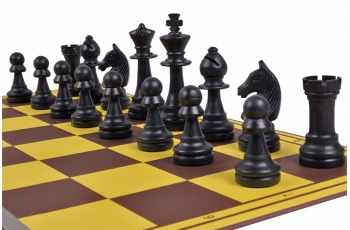 Cardboard chess board, yellow/brown
